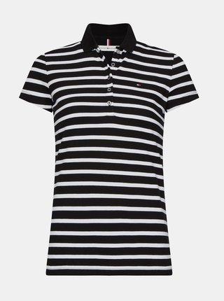 Bílo-černé dámské pruhované polo tričko Tommy Hilfiger