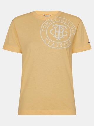 Žlté dámske tričko s potlačou Tommy Hilfiger
