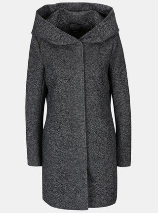 Tmavosivý melírovaný tenký kabát s kapucňou ONLY Sedona