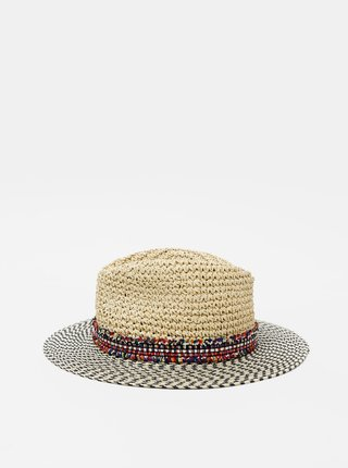 Béžový slamený klobúk Pieces Nabiha