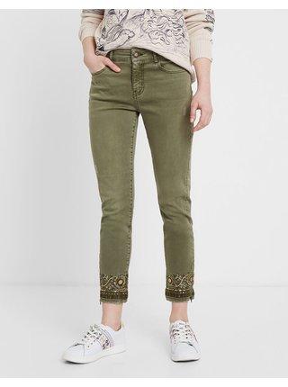 Zelené zkrácené skinny fit džíny Desigual Viena