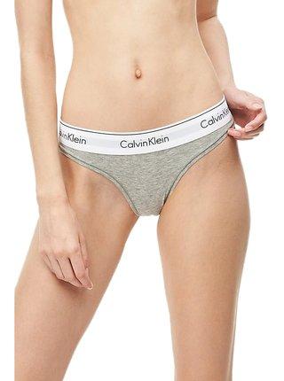 Calvin Klein šedá tanga s bílou širokou gumou Thong Strings