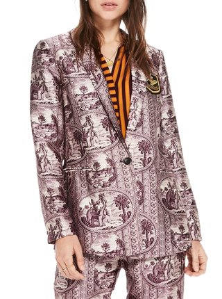 Scotch&Soda fialové sako s motivy slonů a palem