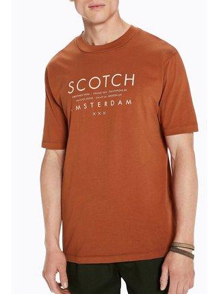 Scotch&Soda oříškové pánské tričko Garmet