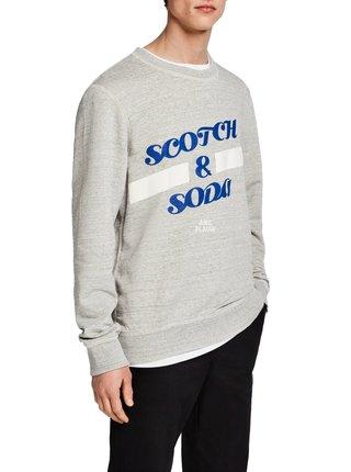 Scotch & Soda šedá pánská mikina Logo Art