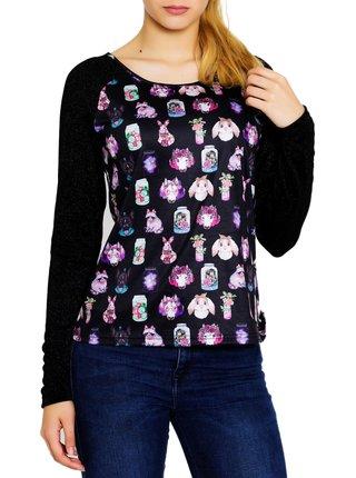 Culito from Spain černé tričko Eva Amaral s barevnými motivy