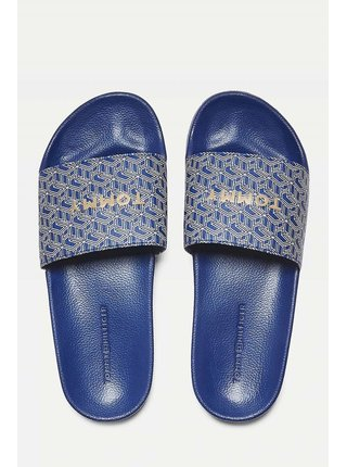Tommy Hilfiger modré pantofle TH Mono Allover Pool Slide