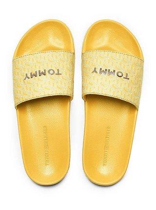 Tommy Hilfiger žlté šľapky TH Mono Allover Pool Slide
