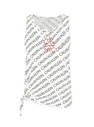 Calvin Klein bílé tílko Side Knotted Tank Print