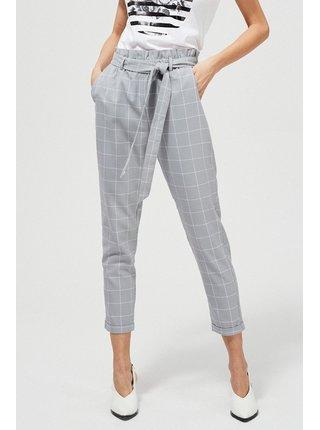 Moodo šedé kostkované kalhoty