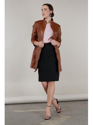 Kara koňakový kožený kabát Evanta