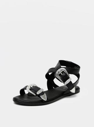 Čierne kožené sandále Pieces Adine