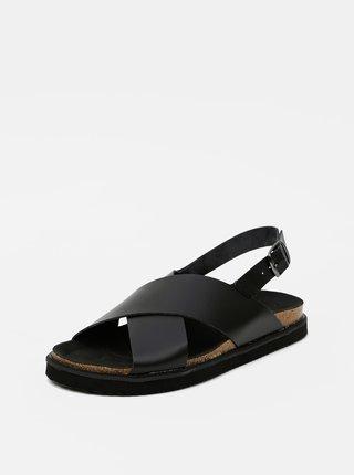 Čierne kožené sandále Pieces Alexa