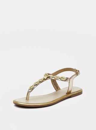 Kožené sandále v zlatej farbe Pieces Aggies