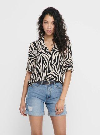 Béžová košile se zebřím vzorem Jacqueline de Yong Tara