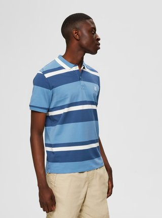 Modré pruhované polo tričko Selected Homme Aro