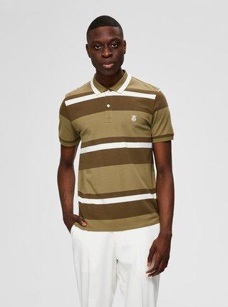 Khaki pruhované polo tričko Selected Homme Aro