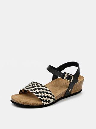 Čierne dámske kožené sandálky OJJU