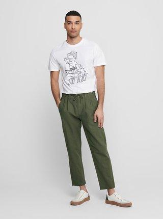Tmavozelené ľanové nohavice ONLY & SONS Leo
