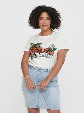 Bílé tričko s příměsí lnu ONLY CARMAKOMA Jungle
