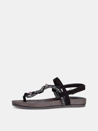 Černé sandály s ozdobnými detaily Tamaris