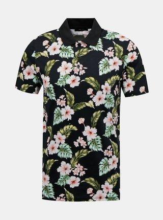 Černé květované polo tričko Jack & Jones Dale