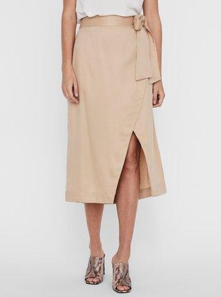 Béžová zavinovací midi sukně AWARE by VERO MODA Katelin