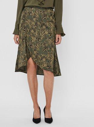 Zelená vzorovaná sukně VERO MODA Kate