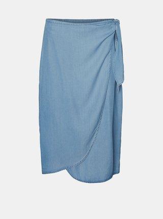 Světle modrá zavinovací sukně VERO MODA Laura