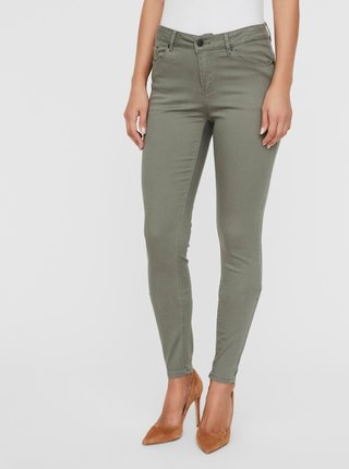 Khaki push up slim fit džíny VERO MODA Hot
