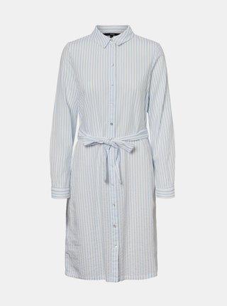 Bílé pruhované košilové šaty VERO MODA Heli