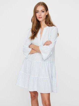 Biele pruhované voľné šaty VERO MODA Heli