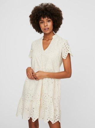 Krémové volné šaty s madeirou VERO MODA Norah