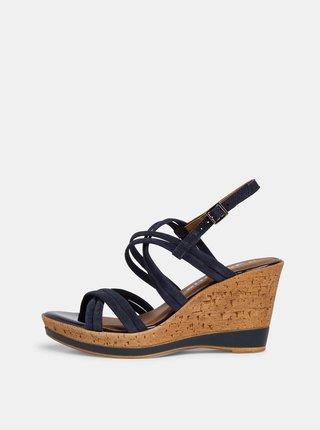Tmavomodré semišové sandálky na plnom podpätku Tamaris