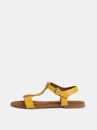 Žluté kožené sandály Tamaris