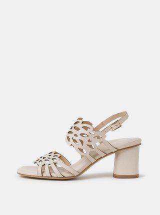 Krémové kožené sandálky Tamaris