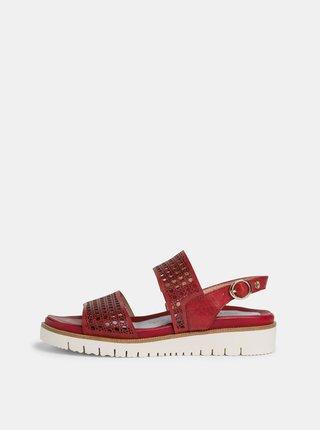 Červené kožené sandále na platforme Tamaris