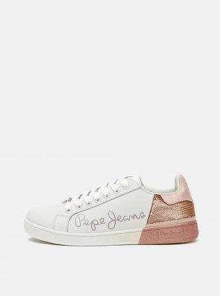 Biele dámske kožené tenisky Pepe Jeans