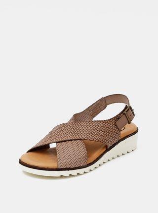 Hnedé kožené sandálky OJJU