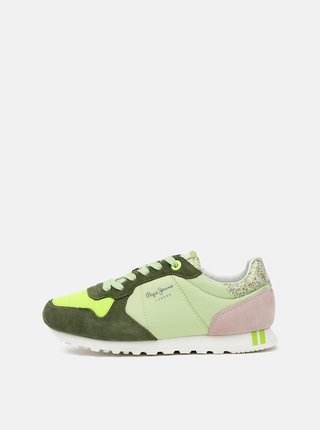 Zelené dámske semišové tenisky Pepe Jeans