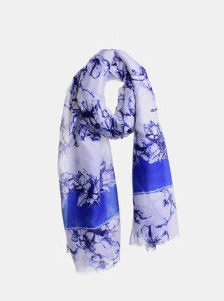Bílo-modrý květovaný šátek Ble
