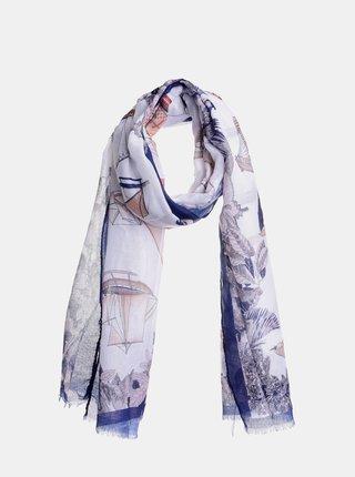 Modro-krémový vzorovaný šátek Ble