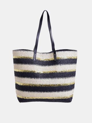 Krémovo-čierna plážová jutová taška Ble