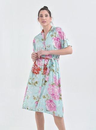 Svetlomodré kvetované košeľové šaty Ble