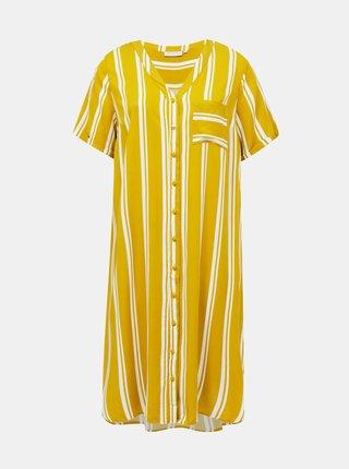 Žluté pruhované šaty ONLY CARMAKOMA Denizia