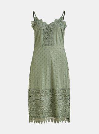Zelené šaty s krajkovými detailmi VILA Waverly