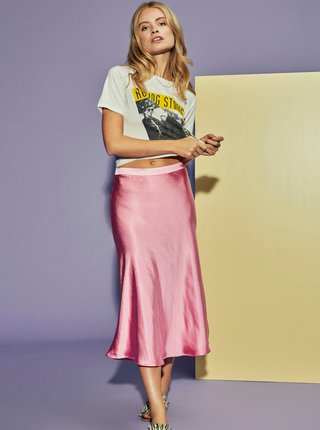 Růžová saténová midi sukně VILA Daia