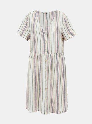 Šedé ľanové pruhované šaty ONLY Alfina