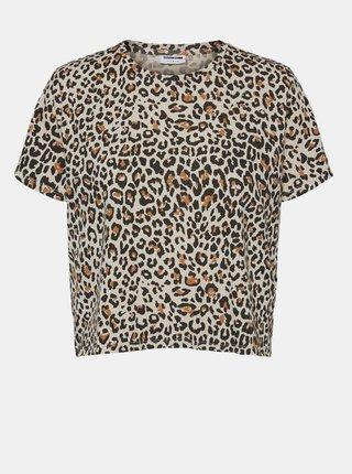 Béžové krátke tričko s leopardím vzorom Noisy May Elly