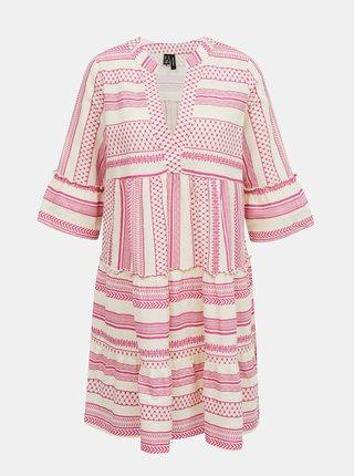 Ružové vzorované voľné šaty VERO MODA Ditche